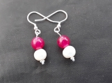 Sterling silver jade and freshwarer pearl drop earings
