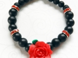 Stretch Bracelet Polymer Clay Red Rose Black Beads Rhinestones