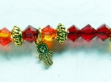 Swarovski Crystal Red Fire Opal Crystals, GP Hamsa Hand Charm