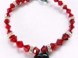 Swarovski Red Crystal Bracelet, Red Glass Heart Charm