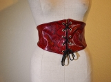 Amazon Warrior Vinyl Belt - Red Snake Print