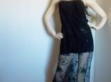 Black Embroidered Chiffon Dress ( S )