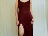 Burgundy Sparkle Sweetheart Dress ( M )