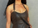 Desert Warrior Brown Faux Leather Fitted Halter Top - Small