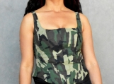 Green Camo Corsetted Top - M