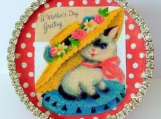 Litty Kitty Mother's Day Gift Box, Vintage, Paper Mache Box