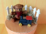 Miniature Porcelain Bear, Paper Mache Trinket Box, Miniatures