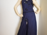 Navy and Black Beaded Evening Dress - S -