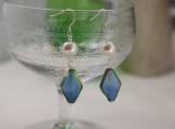 Pearl and Blue Diamond Tab Bead Earrings