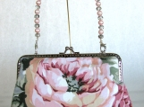 Pink Floral Clutch with Removable Beaded Handle