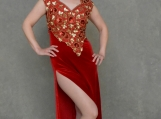 Red Diamond Beaded Formal Dress - M