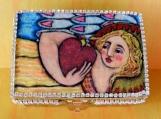 Wood Box Angel Holding Heart, Rhinestone Trim, Glitter Graphic