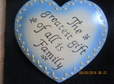 "Wooden ""Family"" Heart wall Plaque-Blue 5x5"