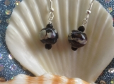 Ceramic black multi handmade earrings