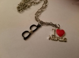 I love nerds necklace / i heart nerds necklace / black glasses necklace / nerd black glasses