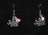 John 3:16 pair of silver earrings with pink flower / silver earrings / john 3 16 earrings / pink flower earrings / bible earrings