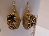 Pair iron pyrite fools gold earrings / pair of earrings fools gold / iron pyrite fools gold earrings