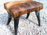 Rustic Western Cowhide Horn leg footstool Made In USA 0151