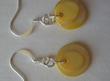Yellow Mother of Pearl & Sterling Silver Dangle Earrings