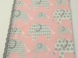 Pink fleece elephant blanket with crochet edge