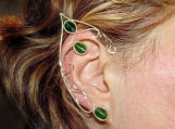 Tauriel Elf ears, Elf Ranger elven ears, silver and green