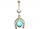 Turquoise Navel ring, Navel belly ring, elven navel ring