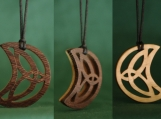 Celtic Knot Moon Jewelry,  Original trinity Pendant, Handcarved Necklace, Ancient Celts, Handmade Gift,