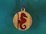Seahorse pendant,  Ocean inspired Jewelry, Nature Pendant, Handcrafted pendant made of zebrano and padauk, Beach jewellery,
