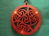 Steampunk Celtic Jewelry, Celtic Spiral, Red Wood Jewellery, Scottish Necklace, Pagan Necklace, Irish Gift, Exotic Wood Pendant
