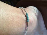 Aquamarine and Rainbow Seed Bead Anklet