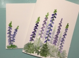 Blue & Purple Flowers Hand-Painted Greeting Card