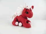 Clay red glitter unicorn sculpture figurine