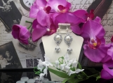 Silver Pearl Pendant Earring Set
