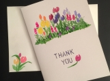 Tulips in the Garden Thank You/Handpainted Watercolor Greeting Card