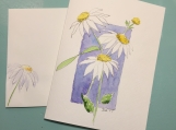 White Coneflowers on Blue Hand-Painted Greeting Card