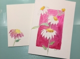 White Flowers Pink Background Isaiah 40:31 Hand-painted Card