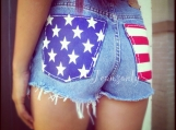 American flag shorts Levis High waist jean shorts cut off shorts