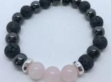 Aromatherapy Diffuser Bracelet Magnetic Hematite and Rose Quartz