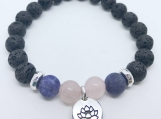 Diffuser Bracelet Blue Sodalite, Rose Quartz and a Silver Lotus