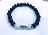 Healing Bracelet with White Howlite and Elephant