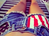 High waisted American flag denim shorts, high waisted jean short