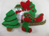Bright Green and Red Tree Ornament Set