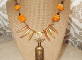 Tribal Mask Necklace, Orange Coral, Magnesite, Tigers Eye, Shell