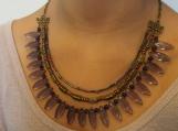 3 row purple & bronze glass beaded necklave