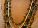 5 row green beaded necklace antique bronze