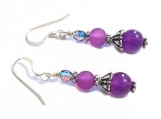 Amethyst Purple Pink Earrings, Gemstone Amethyst Earrings