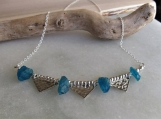 Apatite and Silver Necklace, Sterling Silver Jewelry