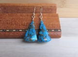 Blue Copper Turquoise Earrings, December Birthstone, Blue & Gold