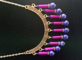 Blue Lapis Lazuli & purple pendant necklace & earrings