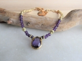 Genuine Amethyst Bracelet, February Birthstone, Purple Bracelet